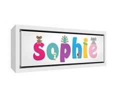 Little Helper LHV-SOPHIE-3084-FCWHT-15IT Stampa su Tela Incorniciata Legno Bianco, Disegno Personalizzabile con Nome da Ragazza Sophie, Multicolore, 34 x 88 x 3 cm