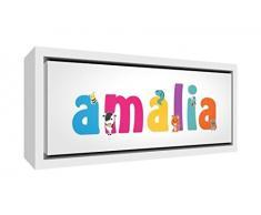 Little Helper LHV-AMALIA-2159-FCWHT-15IT Stampa su Tela Incorniciata Legno Bianco, Disegno Personalizzabile con Nome da Ragazza Amalia, Multicolore, 25 x 63 x 3 cm