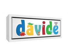 Little Helper LHV-DAVIDE-2159-FCWHT-15IT Stampa su Tela Incorniciata Legno Bianco, Disegno Personalizzabile con Nome da Ragazzi Davide, Multicolore, 25 x 63 x 3 cm