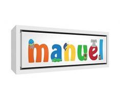 Little Helper LHV-MANUEL-2159-FCWHT-15IT Stampa su Tela Incorniciata Legno Bianco, Disegno Personalizzabile con Nome da Ragazzi Manuel, Multicolore, 25 x 63 x 3 cm