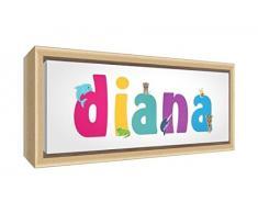 Little Helper LHV-DIANA-2159-FCNAT-15IT Stampa su Tela Incorniciata Legno Naturale, Disegno Personalizzabile con Nome da Ragazza Diana, Multicolore, 25 x 63 x 3 cm