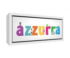 Little Helper LHV-AZZURRA-3084-FCWHT-15IT Stampa su Tela Incorniciata Legno Bianco, Disegno Personalizzabile con Nome da Ragazza Azzurra, Multicolore, 34 x 88 x 3 cm