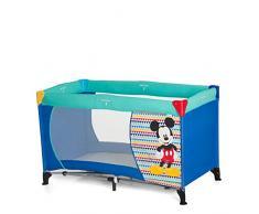 Hauck Dream N Play Plus Lettino da Viaggio, Inclusi Materasso e Borsa di Trasporto 120 x 60 cm, Utilizzabile dalla Nascita, Pieghevole, Disney Mickey Geo Blue (Blu)