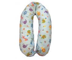 Merrymama-Cuscino allattamento e gravidanza + fodera con lacci/cm 190 (imbottito in microgranuli di polistirene ignifugo), Zoo Sfondo Azzurro