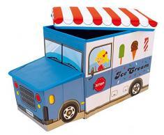 Bieco Scatola plastica con coperchio imbottito gelato per bambini | Portagiochi bambini con scompartimento & coperchio | Cesta pieghevole bianca e blu | 46 L Portagiochi Pieghevole | 04000510