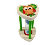 Hess - Porta spazzolini in legno con timer, motivo: gufo