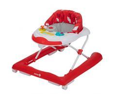 Safety 1St Bolid Girello Bambino Primi Passi da 6 mesi a 12 kg, Piano Gioco con Musica e Gioco elettronico, regolabile in altezza, Red Campus