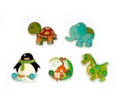 Hess - Appendiabiti per bambini a forma di animali in legno, modelli assortiti,1 pezzo