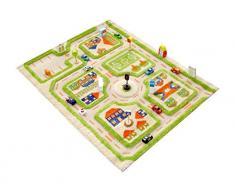 IVI NB/121MD033YE80103-IT Tappeto Ipoallergenico da Gioco in 3D per Bambini con MotivoStrade Colorate, Verde, 80 x 100 cm