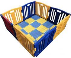 Box per bebè XL, 8 pezzi, Star Ibaby Play Twin, con tappeto puzzle 16 pezzi/molteplici forme di montaggio