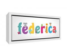 Little Helper LHV-FEDERICA-3084-FCWHT-15IT Stampa su Tela Incorniciata Legno Bianco, Disegno Personalizzabile con Nome da Ragazza Federica, Multicolore, 34 x 88 x 3 cm
