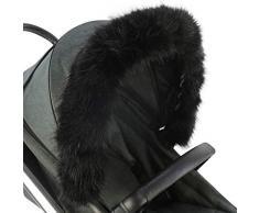 For-Your-Little-One - Cappuccio in pelliccia, compatibile con passeggino, colore: Nero