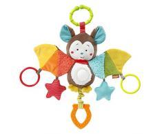 Fehn 067712 - animale giocattolo, pipistrello/giocattolo per la motricità, da appendere, con specchio & anelli da morsicare, afferrare e rumorosi/per neonati e bambini dai 0 + mesi