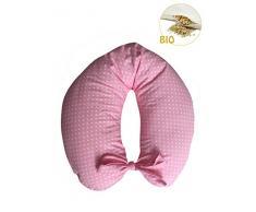 Merrymama - Cuscino allattamento + fodera con lacci/cm 130 (imbottito in pula di farro bio) - Rosa