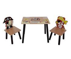 Kiddi Style Pirata Set Tavolo e 2 Sedie per bambini in Legno