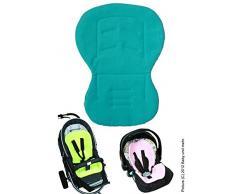 ByBoom Moby, Imbottitura universale per il seggiolino del bebè, con lato estivo e lato invernale, Blu acqua