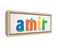 Little Helper LHV-AMIR-3084-FCNAT-15IT Stampa su Tela Incorniciata Legno Naturale, Disegno Personalizzabile con Nome da Ragazzi Amir, Multicolore, 34 x 88 x 3 cm