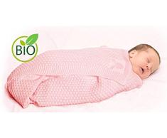 Wallaboo Coperta ultra morbida per bambini Eden, puro 100% cotone bio, Dimensione 90 x 70 cm, lavorata a maglia, per lettino, Colore: Rosa