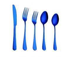 Set di stoviglie rotonde lisce in acciaio inox portatile posate da carne occidentale set di cinque pezzi per pasti in famiglia e pic-nic, blu