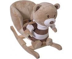 Bieco 74004003 - peluche a dondolo Bubu orso, marrone, per bambini sedia a dondolo, sedile e schienale, altalena peluche per neonati e bambini di circa 60 x 30 x 50 cm