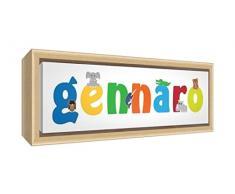 Little Helper LHV-GENNARO-3084-FCNAT-15IT Stampa su Tela Incorniciata Legno Naturale, Disegno Personalizzabile con Nome da Ragazzi Gennaro, Multicolore, 34 x 88 x 3 cm