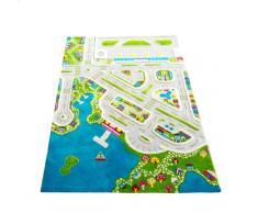 IVI NB/121MD034TR134180-IT Tappeto Ipoallergenico da Gioco in 3D per Bambini con MotivoCittà Colorata, Multicolore, 134 x 180 cm
