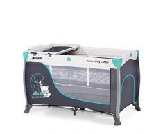 Hauck Sleep N Play Center 3, Lettino da Viaggio dalla Nascita a 15 kg, Lettino 7 Pezzi con 2 Livelli, Fasciatoio, Uscita Laterale, Tasca in Rete, Ruote e Borsa di Trasporto, Turchese (Forest Fun)