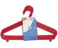 appendini bieco Bebé Bambino Hanger appendiabiti grucce di plastica per bambini per la conservazione guardaroba lunghezza armadietto 29,5 centimetri, 16 pezzi, rosso, stretto, ARTN 90.016.142