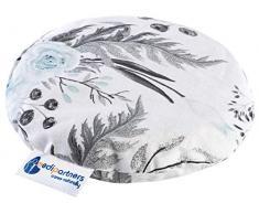 Cuscino termico con noccioli di ciliegia, per bambini, 180 g, rotondo, 15 cm, ecologico, 100% cotone, per terapia termica + freddo, terapia massaggiante (fiori grigi)