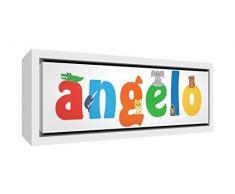 Little Helper LHV-ANGELO-3084-FCWHT-15IT Stampa su Tela Incorniciata Legno Bianco, Disegno Personalizzabile con Nome da Ragazzi Angelo, Multicolore, 34 x 88 x 3 cm
