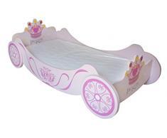 Kiddi Style Letto Reale da Principessa a forma di Carrozza letto in legno per bambini – rosa