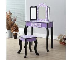 Teamson Kids Fashion Prints Vanity Set tavolo e sgabello, viola/nero, leopardo