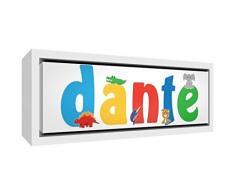 Little Helper LHV-DANTE-3084-FCWHT-15IT Stampa su Tela Incorniciata Legno Bianco, Disegno Personalizzabile con Nome da Ragazzi Dante, Multicolore, 34 x 88 x 3 cm