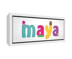 Little Helper LHV-MAYA-3084-FCWHT-15IT Stampa su Tela Incorniciata Legno Bianco, Disegno Personalizzabile con Nome da Ragazza Maya, Multicolore, 34 x 88 x 3 cm
