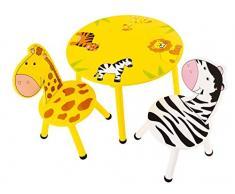 Bieco 74088934 tavolo e due sedie in legno con motivo savana, set da tavola per i bambini dai 3 anni, multicolore