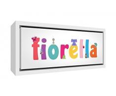 Little Helper LHV-FIORELLA-1542-FCWHT-15IT Stampa su Tela Incorniciata Legno Bianco, Disegno Personalizzabile con Nome da Ragazza Fiorella, Multicolore, 19 x 46 x 3 cm
