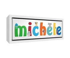 Little Helper LHV-MICHELE-2159-FCWHT-15IT Stampa su Tela Incorniciata Legno Bianco, Disegno Personalizzabile con Nome da Ragazzi Michele, Multicolore, 25 x 63 x 3 cm