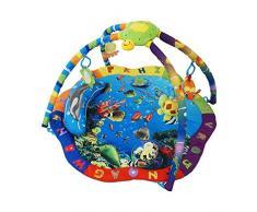 Todeco - Stuoia Per Bambini, Stuoia Educativo - Dimensione: 87 x 87 x 48 cm - Giocattoli educativi: (1x) Tartaruga di peluche (1x) Pesce di peluche (1x) Specchio a fiore (1x) Piccolo cuscino - Modello mare