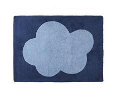 Happy Decor Kids HDK-111 Tappeto Lavabile Big Cloud, Blu Scuro, 120 x 160 cm
