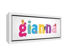 Little Helper LHV-GIANNA-2159-FCWHT-15IT Stampa su Tela Incorniciata Legno Bianco, Disegno Personalizzabile con Nome da Ragazza Gianna, Multicolore, 25 x 63 x 3 cm