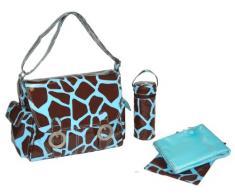 Kalencom - Borsa da donna con fibbie e tracolla regolabile, disegno elegante con motivo effetto pelle di giraffa, provvista di tasche portaoggetti, fasciatoio e portabiberon termico, colore: Cioccolato/Azzurro