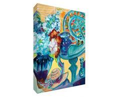 Feel Good Art VJ - Summer Collect ion128 - 15de finta di tela pieghevole dell artista britannico, Val Johnson vaso e fiori colorati motivo astratto, 30 x 20 x 4 cm, misura piccola