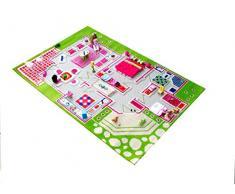 Little Helper IVI ipoallergenico 3d Tappetino da gioco per bambini e tappeto (130 x 200 cm, colore: verde/multicolore, Casetta)