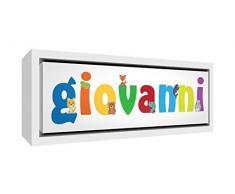 Little Helper LHV-GIOVANNI-1542-FCWHT-15IT Stampa su Tela Incorniciata Legno Bianco, Disegno Personalizzabile con Nome da Ragazzi Giovanni, Multicolore, 19 x 46 x 3 cm