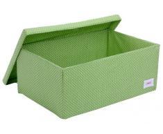 Mimene - Scatola portaoggetti a pois per sotto il letto, colore: Verde