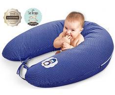 Sei Design - Cuscino per allattamento, 170 x 30 cm Imbottitura: palline di fibra 3D prive di sostanze nocive certificate Ökotex. Fodera con cerniera e ricamo di alta qualità. Ideale per Jean fuori casa