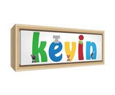 Little Helper LHV-KEVIN-3084-FCNAT-15IT Stampa su Tela Incorniciata Legno Naturale, Disegno Personalizzabile con Nome da Ragazzi Kevin, Multicolore, 34 x 88 x 3 cm