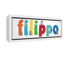 Little Helper LHV-FILIPPO-2159-FCWHT-15IT Stampa su Tela Incorniciata Legno Bianco, Disegno Personalizzabile con Nome da Ragazzi Filippo, Multicolore, 25 x 63 x 3 cm