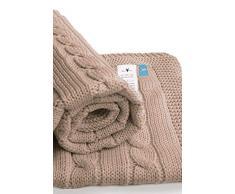 Wallaboo Coperta ultra morbida per bambini Noa, puro 100% cotone bio, Dimensione 90 x 70 cm, lavorata a maglia, per lettino, Colore: Taupe