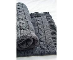 Wallaboo Coperta ultra morbida per bambini Noa, puro 100% cotone bio, Dimensione 90 x 70 cm, lavorata a maglia, per lettino, Colore: Grigio
